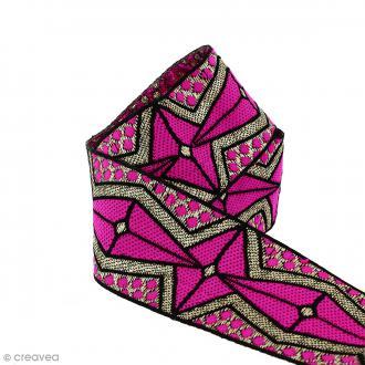 Galon ethnique - Rose motifs géométriques - 45 mm - Au mètre (Sur mesure)