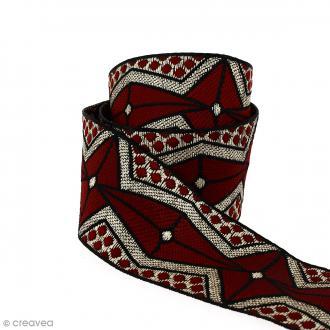Galon ethnique - Rouge foncé motifs géométriques - 45 mm - Au mètre (Sur mesure)