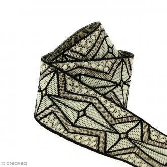 Galon ethnique - Gris motifs géométriques - 45 mm - Au mètre (Sur mesure)