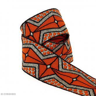 Galon ethnique - Orange motifs géométriques - 45 mm - Au mètre (Sur mesure)