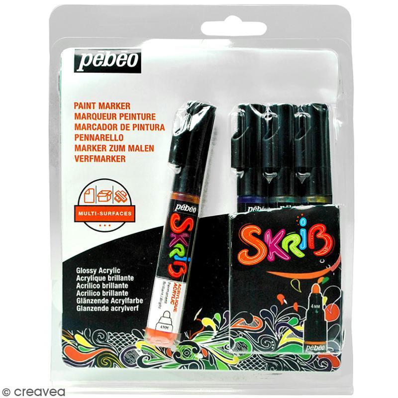 Coffret Skrib Marqueur peinture acrylique - Grafiti - 4 marqueurs - Photo n°1