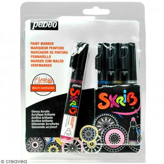 Coffret Skrib Marqueur peinture acrylique - Perle - 4 marqueurs