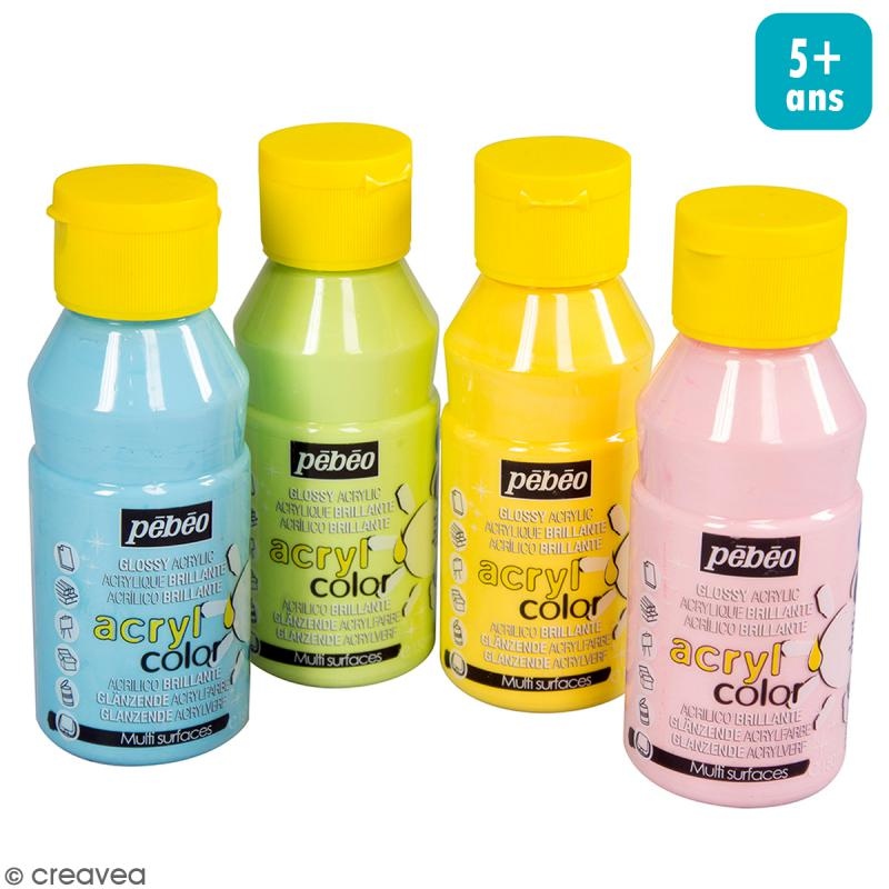 Assortiment Peinture Acrylcolor - Pastels - 150 ml - 4 pcs - Photo n°1