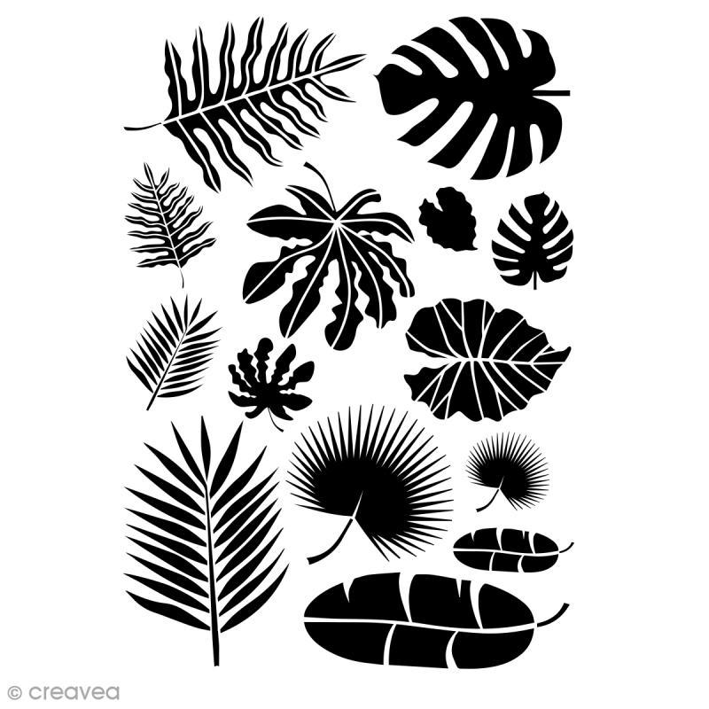 Pochoir multiusage A4 - Feuilles Jungle - 1 planche - Photo n°1