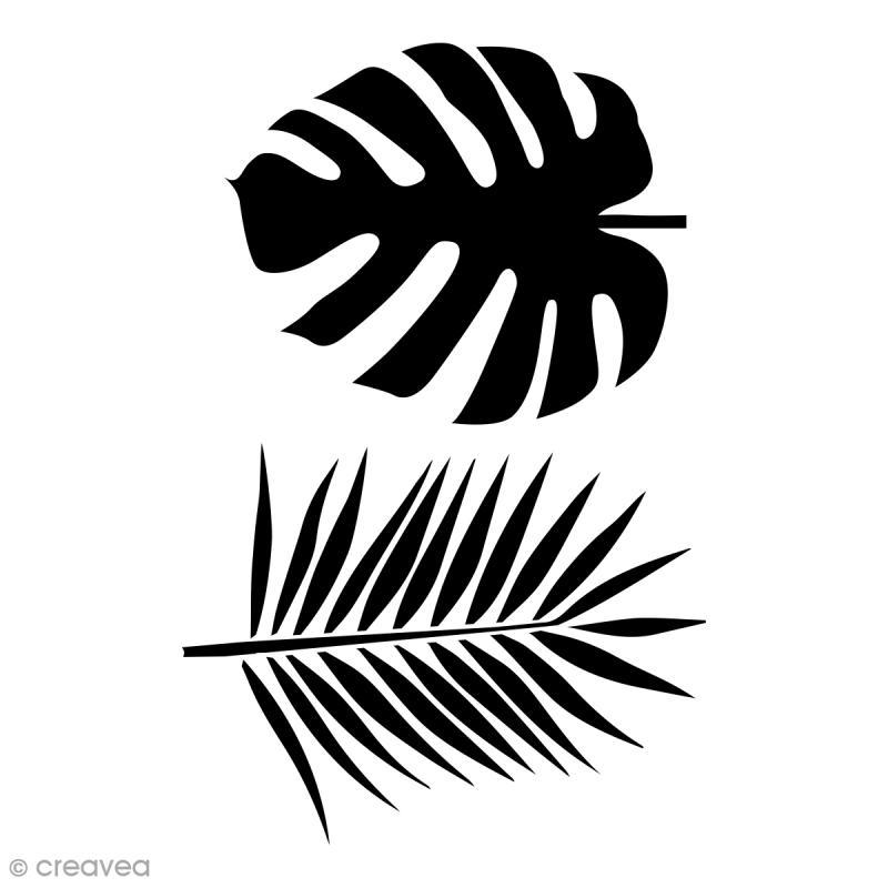 Pochoir multiusage A4 - Feuilles de voyageur Monstera et palmier - 1 planche - Photo n°1