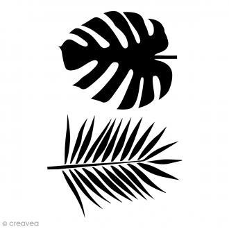 Pochoir multiusage A4 - Feuilles de voyageur Monstera et palmier - 1 planche
