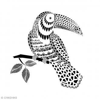 Pochoir multiusage A4 - Toucan ajouré - 1 planche