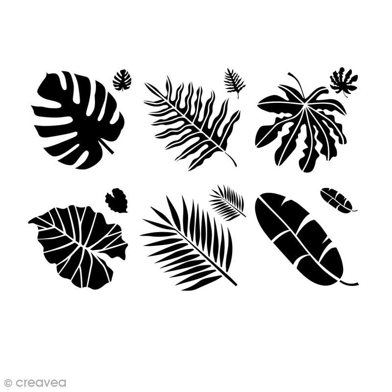 pochoirs multiusages 15 x 15 cm assortiment feuilles jungle 6 pcs pochoir mural creavea. Black Bedroom Furniture Sets. Home Design Ideas