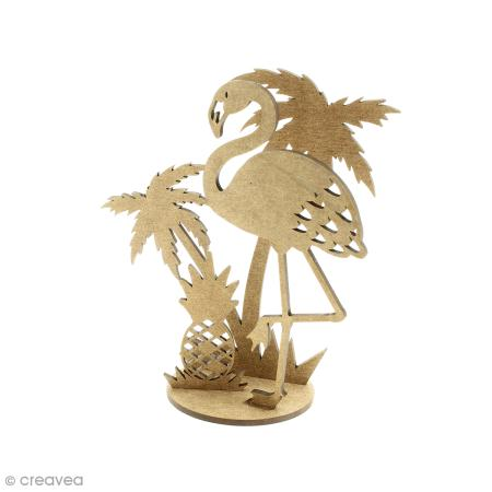 D co 3d sur socle monter flamant rose et palmier 4 for Deco flamant rose