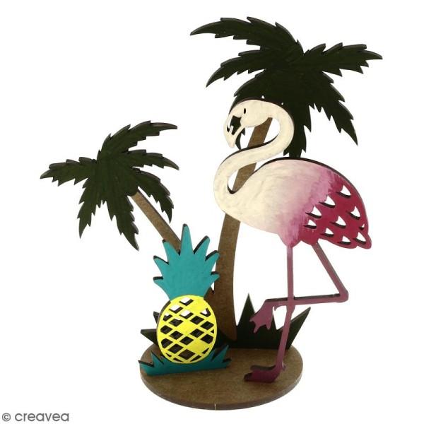Déco 3D sur socle à monter - Flamant rose et palmier - 4 pcs - Photo n°2