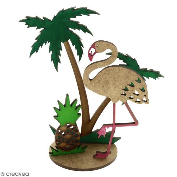 Déco 3D sur socle à monter - Flamant rose et palmier - 4 pcs - Photo n°3