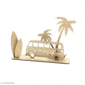 Déco 3D sur socle à monter - Combi planche de surf et palmier - 5 pcs