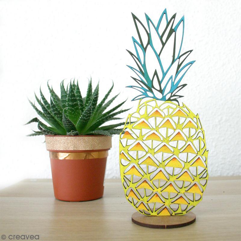Déco 3D sur socle à monter - Ananas ajouré - 2 pcs - Photo n°2