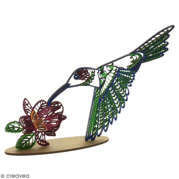 Déco 3D sur socle à monter - Colibri ajouré - 2 pcs - Photo n°3