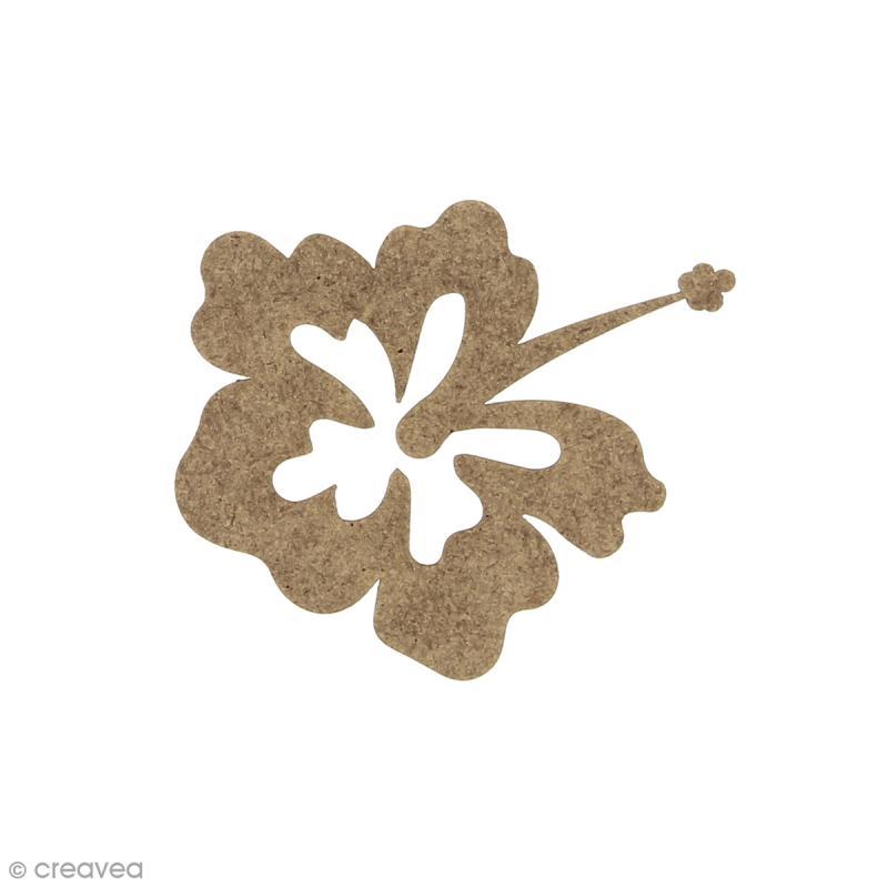 Fleur hibiscus en bois à décorer - 6 x 5,3 cm - Photo n°1