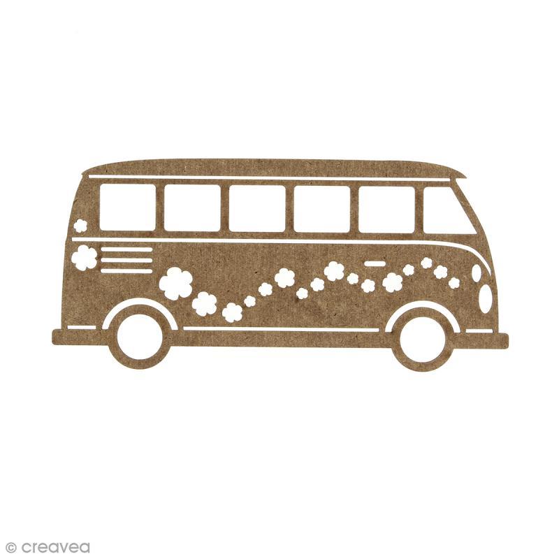 Combi Van en bois à décorer - 15 cm - Photo n°1