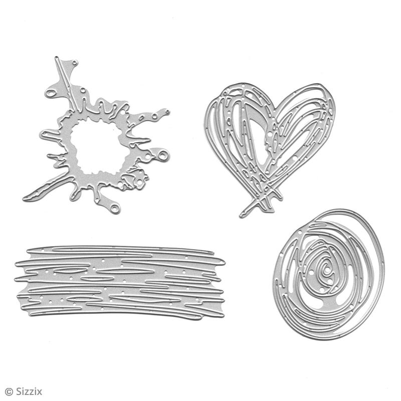 Matrice Sizzix Thinlits - Griffonages - 4 pcs - Photo n°3