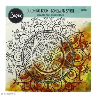 Livre coloriage adulte Sizzix Esprit Bohémien - 24 coloriages