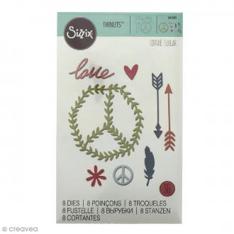 Matrice Sizzix Thinlits - Festival Peace Love - 8 pcs