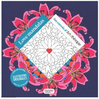 Livre coloriage adulte anti stress - 17 x 17 cm - Love Mandalas - 100 coloriages