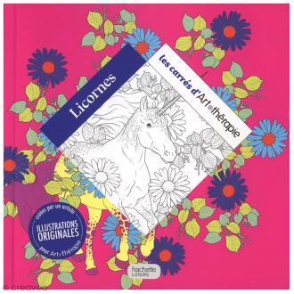 Livre coloriage adulte anti stress - 17 x 17 cm - Licornes - 100 coloriages