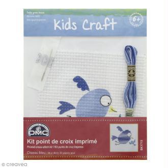 Kit DMC point de croix pour enfants - Oiseau bleu