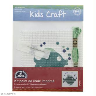 Kit DMC point de croix pour enfants - Poisson vert