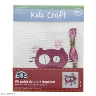 Kit DMC point de croix pour enfants - Chat rose