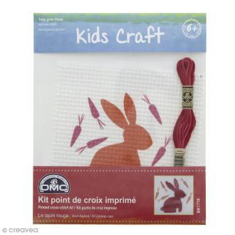 Kit DMC point de croix pour enfants - Lapin rouge