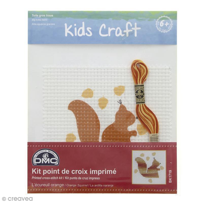 Kit dmc point de croix pour enfants ecureuil orange kit broderie creavea - Apprendre le point de croix ...