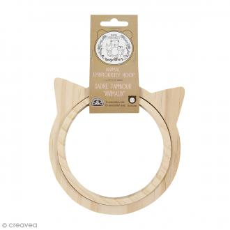 Cadre tambour broderie - Chat - 13,5 cm