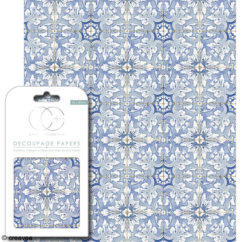 Feuilles de papier décoratif - 35 x 40 cm - Valencia - 3 pcs - Photo n°1