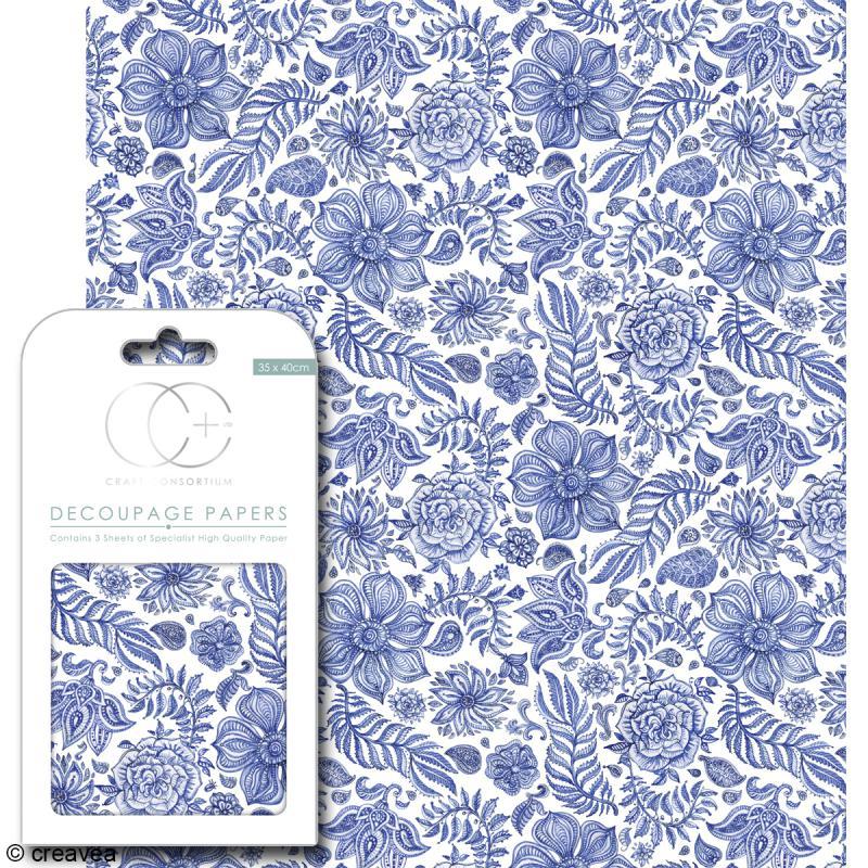Feuilles de papier décoratif - 35 x 40 cm - Bleu indien - 3 pcs - Photo n°1