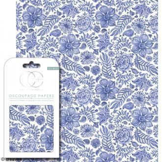Feuilles de papier décoratif - 35 x 40 cm - Bleu indien - 3 pcs