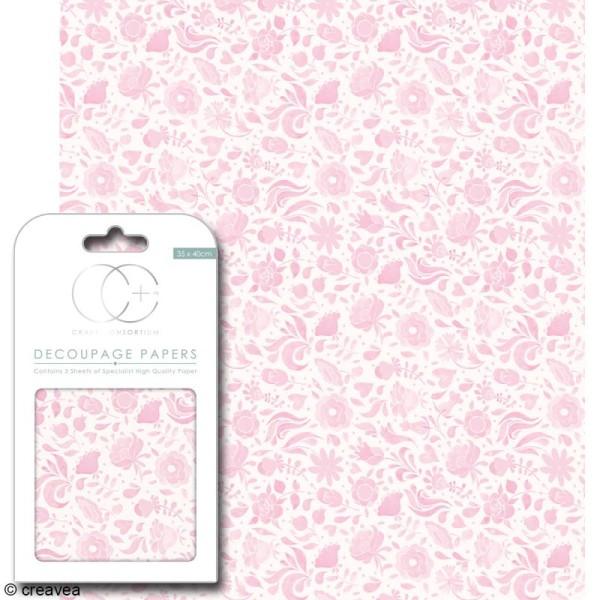 Feuilles de papier décoratif - 35 x 40 cm - Floral rose - 3 pcs - Photo n°1