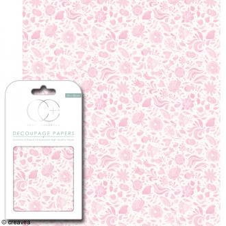 Feuilles de papier décoratif - 35 x 40 cm - Floral rose - 3 pcs