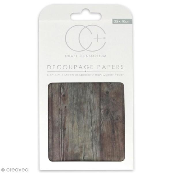Feuilles de papier décoratif - 35 x 40 cm - Bois marron - 3 pcs - Photo n°1