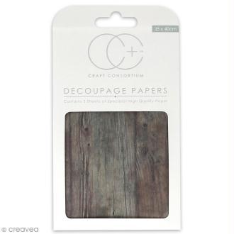 Feuilles de papier décoratif - 35 x 40 cm - Bois marron - 3 pcs