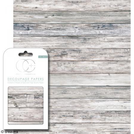 Feuilles de papier décoratif - 35 x 40 cm - Bois gris - 3 pcs - Photo n°1