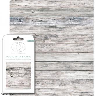 Feuilles de papier décoratif - 35 x 40 cm - Bois gris - 3 pcs