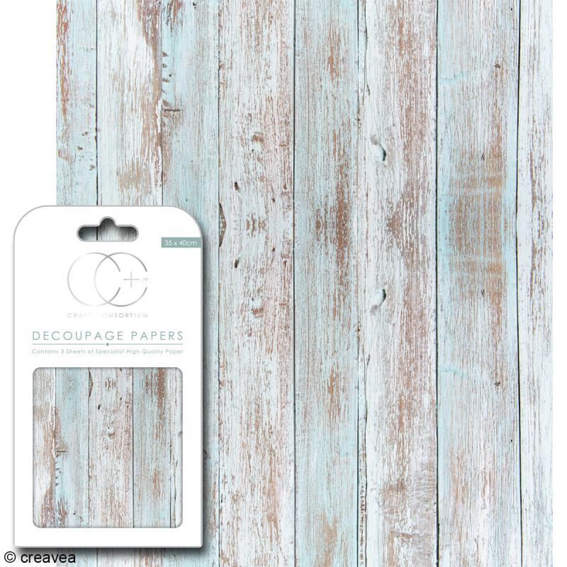 Feuilles de papier décoratif - 35 x 40 cm - Bois plage - 3 pcs - Photo n°1