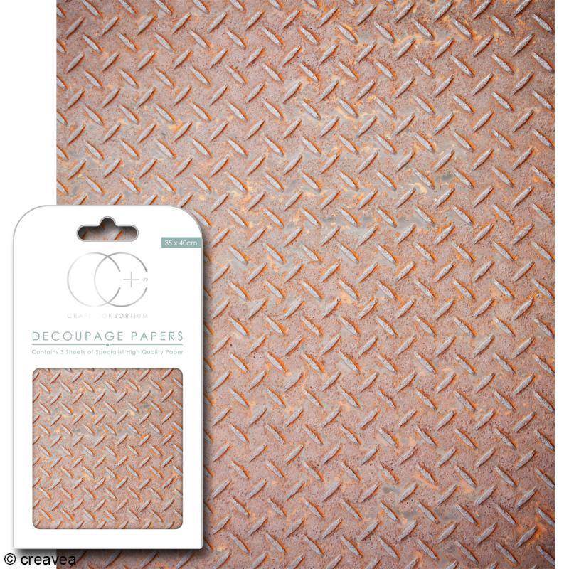 Feuilles de papier décoratif - 35 x 40 cm - Industriel chic - 3 pcs - Photo n°1