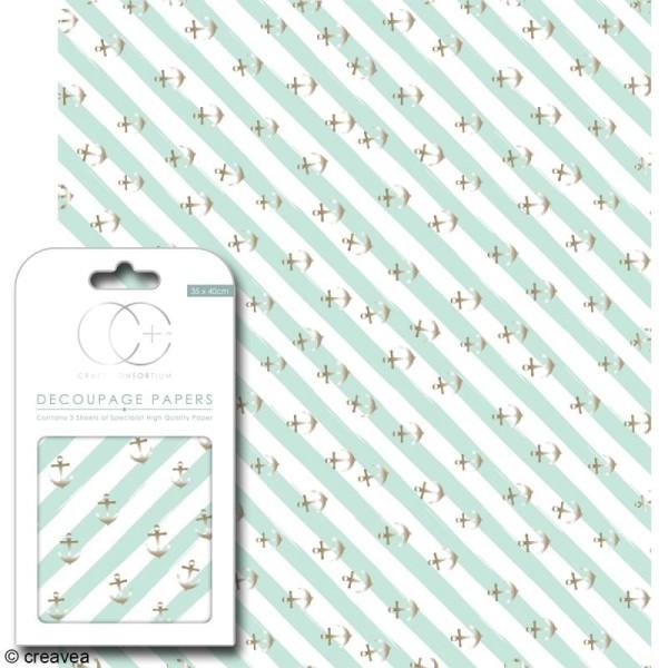 Feuilles de papier décoratif - 35 x 40 cm - Ancre marin - 3 pcs - Photo n°1