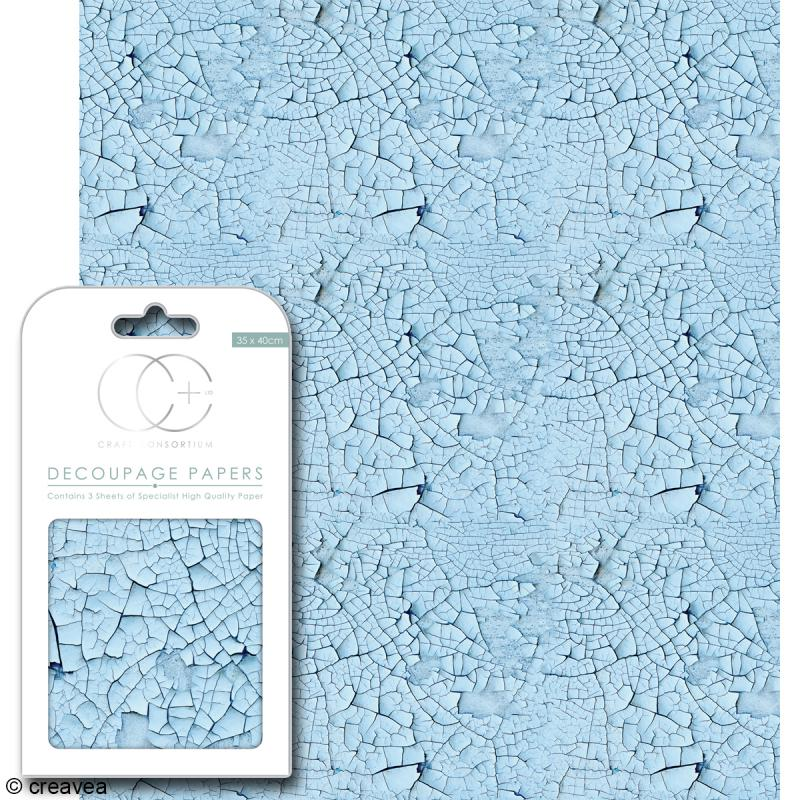 Feuilles de papier décoratif - 35 x 40 cm - Bleue craquelée - 3 pcs - Photo n°1