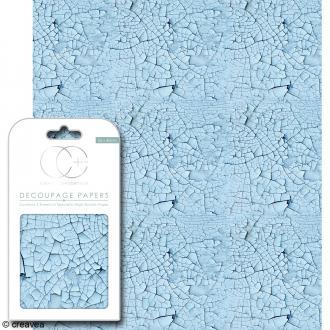 Feuilles de papier décoratif - 35 x 40 cm - Bleue craquelée - 3 pcs