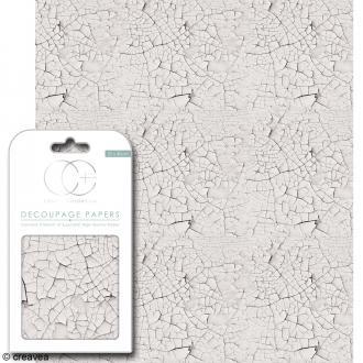Feuilles de papier décoratif - 35 x 40 cm - Bois craquelé blanc - 3 pcs
