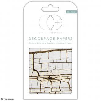 Feuilles de papier décoratif - 35 x 40 cm - Bois craquelé - 3 pcs