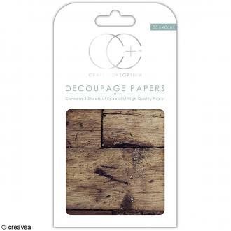 Feuilles de papier décoratif - 35 x 40 cm - Vieux parquet - 3 pcs