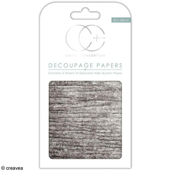 Feuilles de papier décoratif - 35 x 40 cm - Bois blanc - 3 pcs - Photo n°1