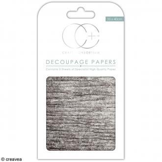 Feuilles de papier décoratif - 35 x 40 cm - Bois blanc - 3 pcs